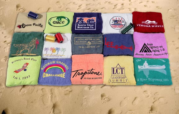 PICTURE OF EMBROIDERED (MONOGRAMMED) BEACH TOWELS